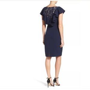 Eliza J navy blue sheath dress ruffle lace